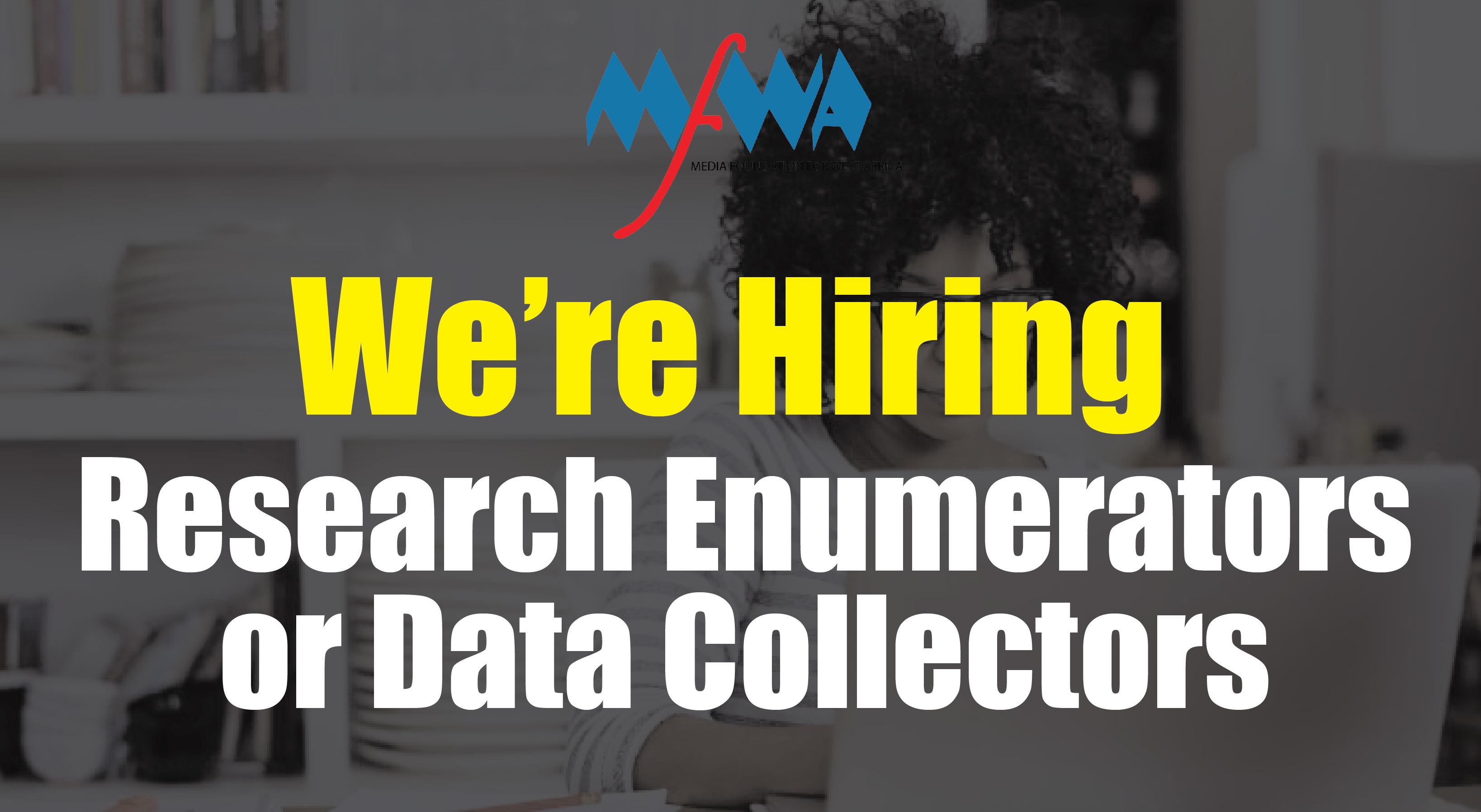 Call for Research Enumerators or Data Collectors - Media Foundation